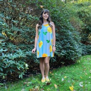Vintage 60's Yellow Rose Floral Dress